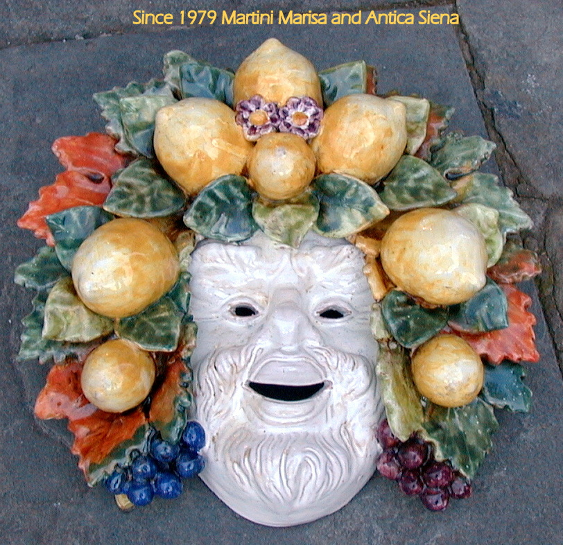 (English) Mask with lemons and grapes inc.13.5x12.5