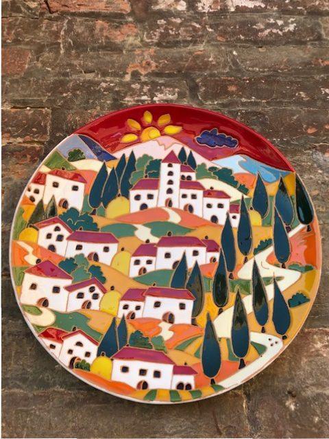 Piatto decorativo diametro 35 paesaggio Toscano